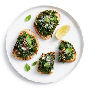 Bite sized goodness - kale bruschetta makes a healthy snack
